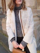 Topshop Faux Suede Sheepskin Shearling Patchwork Jacket Coat - Size 10