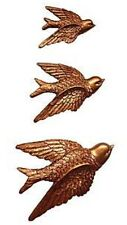 SET OF 3 COPPER FLYING BIRDS WALL ART HANGING PLAQUES Next Day Despatch