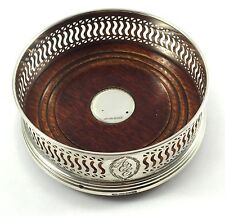 Solid Silver With Wooden Base Wine Coaster 2001 187.6g W I Broadway & Co