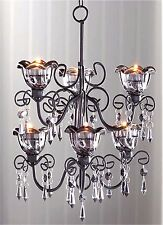 Gorgeous MIDNIGHT BLOOMS  6 ANDLE 2-TIER SMOKE HOLDERS CHANDELIER & CHAIN ** NIB