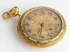 Antique TIFFANY & CO. 18K GOLD POCKET WATCH Enamel Detail to Front