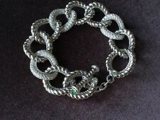New Judith Ripka Sterling Diamonique Emerald Curb Link Toggle Bracelet MSRP $800