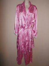 Pink K Womens Size M Slinky 2-Piece Robe and Pants Pink Leopard Print