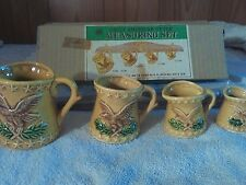 VINTAGE EARLY AMERICAN EAGLE MEASURING CUPS & WALL HOLDER + ORIGINAL BOX  JAPAN