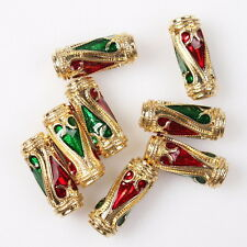 15pcs 112762 New Red Green Enamel Heart Golden Cameo Cylinder Alloy Spacer Beads
