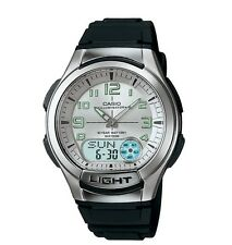 Casio AQ180W-7BV Men's Resin Band Silver Dial Analog Digital Databank Watch