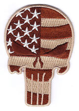 MILITARY - PUNISHER SKULL - USA AMERICAN FLAG, ARMY TACTICAL - IRON ON PATCH