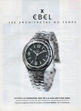 Publicité Advertising 1997   Montre EBEL  automatique en acier avec fond saphir