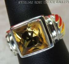 square 9mm CITRINE Sterling Silver 0.925 Estate COCKTAIL RING size 6