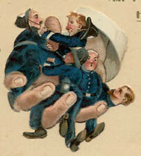 OLD DIE CUT POLICEMEN ON CUTE FOLDING CARD COMIC WHISKEY BOTTLE & ON SALE, PC646