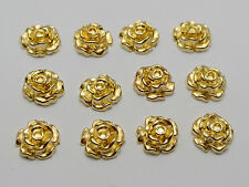 100 Gold Tone Metallic Acrylic Flower Studs 10mm No Hole Cell Phone Deco