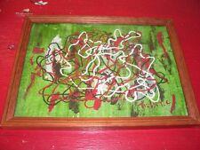 TRES JOLIE PEINTURE ABSTRAIT signé,peinture acrylique sur papier cartonné