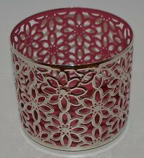 BATH & BODY WORKS PINK FLOWERS METAL LARGE 3 WICK CANDLE HOLDER SLEEVE 14.5 OZ