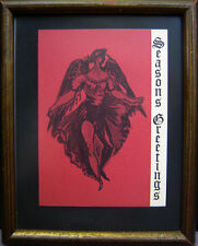 Vintage 1961 JON CORBINO, N.A. (1905-1964) framed ANGEL Christmas Card