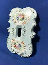 Vintage Arnart Japan Blue Floral Porcelain Light Switch Cover Plate