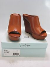 JESSICA SIMPSON Womens LOVELL Brown Synthetic Platform Wedge Slide Sandal 9.5M
