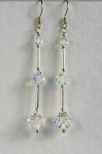 Crystal EARRINGS Extra Long SWAROVSKI Elements STERLING SILVER 925 Bridal