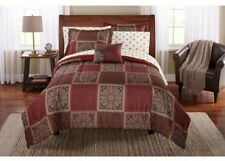 Queen Size 8 PC Bed In A Bag Comforter Set Brown Taupe Red Sheets Pillow Bedding