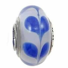 Blue Love Hearts Murano Style Glass Bead Solid 925 Sterling Silver Core
