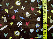 BACK TO SCHOOL ANIMAL PRINT ON BROWN 100% COTTON FABRIC BY THE 1/2 YARD