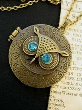 Antique Bronze Vintage OWL LOCKET Pendant Necklace Rhinestone  SteamPunk Fantasy