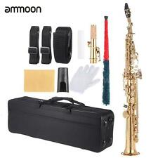 ammoon Brass Straight Soprano Sax Saxophone Bb B Flat with Case Golden A2X1