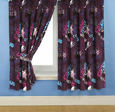 "DISNEY CAMP ROCK 66"" x 54"" PENCIL PLEAT CURTAINS PLUM CERISE BLUE STARS DOTS"