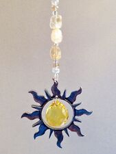 Rear View Mirror Crystal Car Charm, Pewter Sun Window Sun Catcher With Citrine