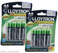 8 x Lloytron AA Battery Rechargeable Batteries NiMH 2700 mAh