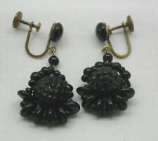 Pretty 1920's Pair Of French Jet Black Glass Dropper Earrings