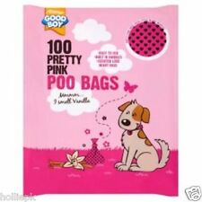 100 PRETTY PINK & BLACK HEARTS PUPPY DOG POO WASTE POOP BAGS SCENTED TIE HANDLES