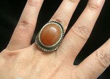 SUPERBE BAGUE ARGENT TIBETAIN STYLE AMBRE taille 52 STYLE ANCIEN