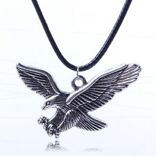 Hunting eagle bird vintage retro tibet silver pendant black rope cord necklace