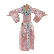 Pink Silver Thread Japanese Kimono Costume Dress Outfit for Barbie Dolls