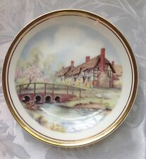 "5.5"" Royal Kent Staffordshire Plate Tudor House English Countryside Bridge Strea"