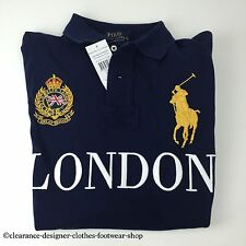 RALPH LAUREN POLO BIG PONY LONDON CITIES NAVY BLUE TOP T-SHIRT MEDIUM RRP £115