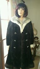Vintage Genuine Dark Brown Mink Fur Stroller Swing Coat Jacket Cross Mink Collar