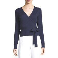 Diane Von Furstenberg DVF Ballerina Midnight Blue Cotton Silk Wrap Sweater $268
