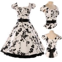 Pinup Retro 1950s Vintage Floral Print Tea Full Circle Cocktail Ball Dress 4Size