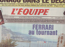 journal  l'equipe 12/05/91 FORMULE 1 AVANT GP DE MONACO RUGBY BEGLES REIGHT