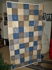 """Civil War Style Reproroduction Heavy Homemade Hand Tied Soldiers Quilt 76"""" X 42"""""""