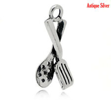 4 Silver Baking SPOON and SPATULA Grilling Food Foodie Charms 22x12mm chs0632