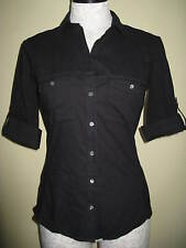 NEW James Perse Contrast Panel Black Shirt Top Blouse Size 4 /XL MSRP $144