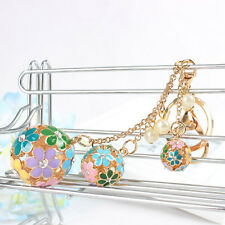 Hollow Ball Pearl Multi-colors Flowers Charm Pendant Purse Key Chain Accessories