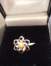 925 Silver And Yellow Diamond Ring