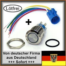 4 Stk. Schalter 22mm Edelstahl wasserdicht für Boot LED rot, lötfrei
