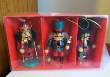Lot of (3) Wooden NUTCRACKER CHRISTMAS ORNAMENTS - 4""