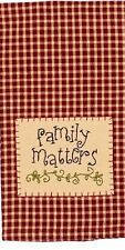 Family Matters Kitchen Towels - Lot of 2 Raghu Barn Red Embroidery Primitive NIP