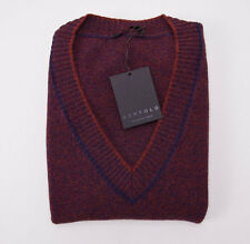 NWT $525 BERTOLO Burgundy-Orange-Violet Melange Wool Sweater Vest M/50 Italy