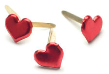 Painted Metal Paper Fasteners 50/Pkg-Hearts - Metallic Red CI90315